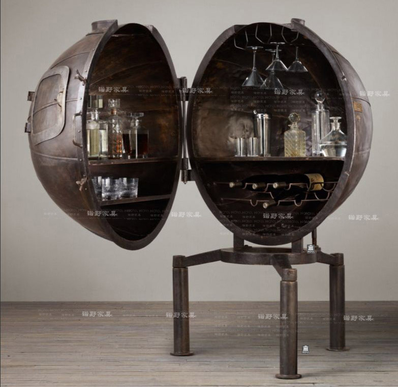 American Country Wrought Iron Bar Creative Modern Minimalist Fashion European Wine Cabinet Bookcase Spherical In Catches From Home