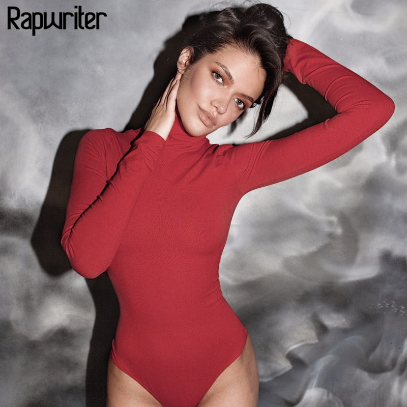 Rapwriter Sexy Solid Knitted Cotton Turtleneck Skinny Bodysuits Women Autumn Winter Long Sleeve Bodycon Sheer Bodysuit