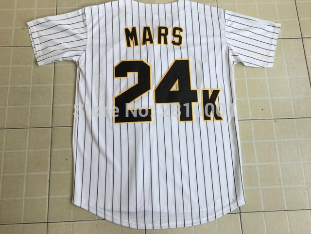 Bruno Mars 24K Hooligans White #24 Pinstriped BET Awards Baseball Jersey For Men Stripe Stitched Button Down Glod Edge ...