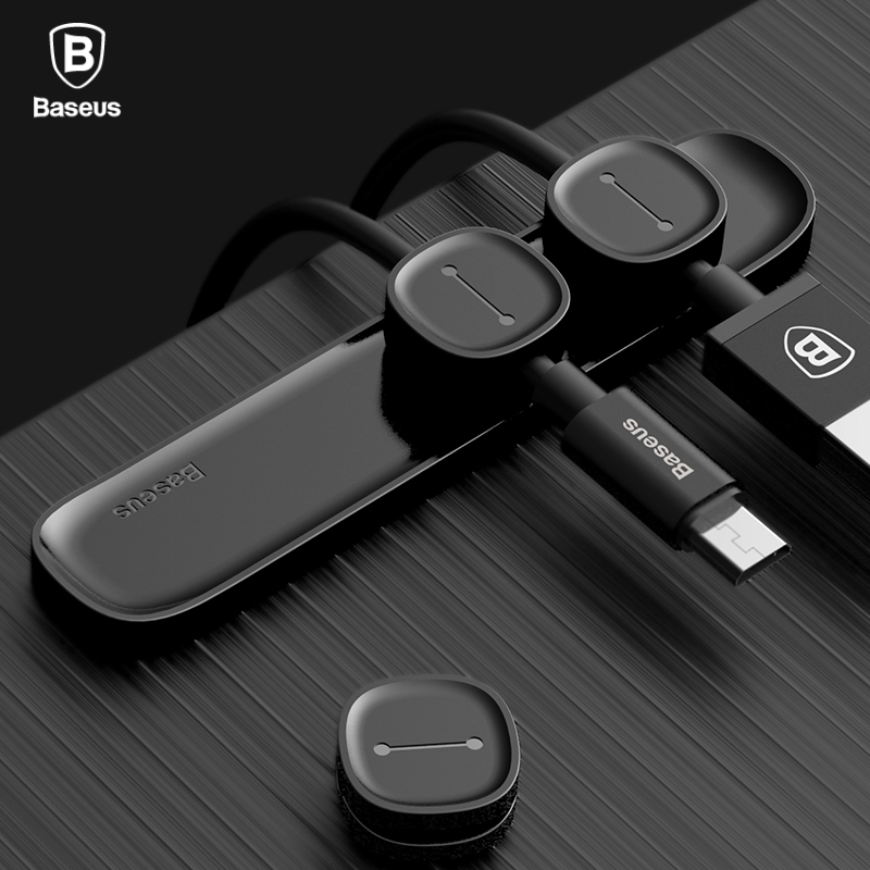 Baseus Magnetic Cable Organizer USB Cable Management Winder Clip Desktop Workstation Wire Cord Protector Cable Holder For iPhone ugreen cable holder organizer 25mm diameter flexible spiral tube cable organizer wire management cord protector cable winder