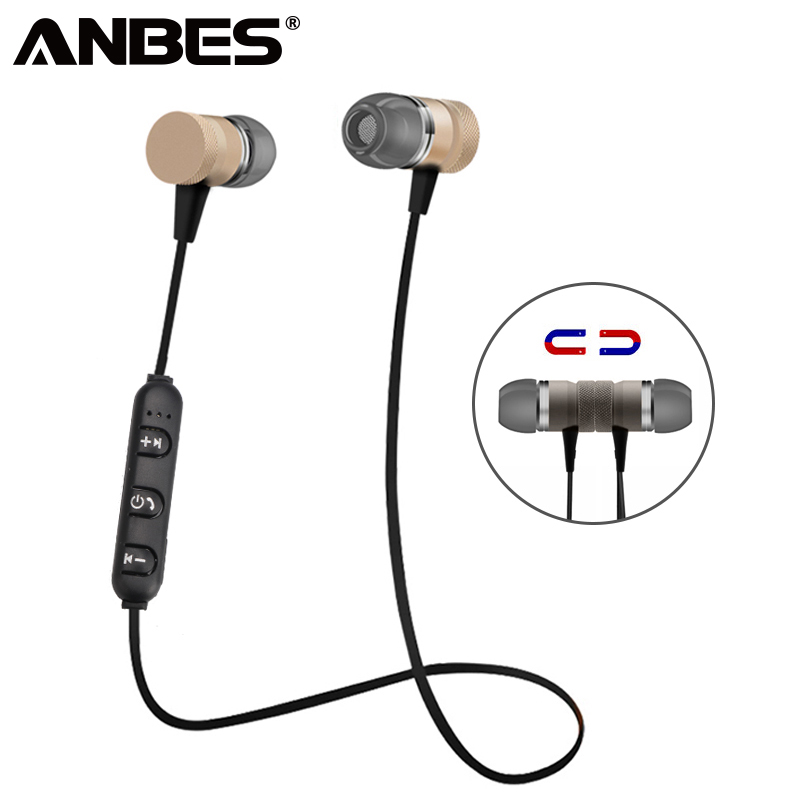 ANBES Sport Bluetooth Headphones Metal Magnetic Wireless Earphones Stereo Bass Headset Earbuds Handsfree With Microphone bluetooth headset wireless sport headphones stereo music with magnetic switch bass earpieces for zte blade x3 x5 x7 kis