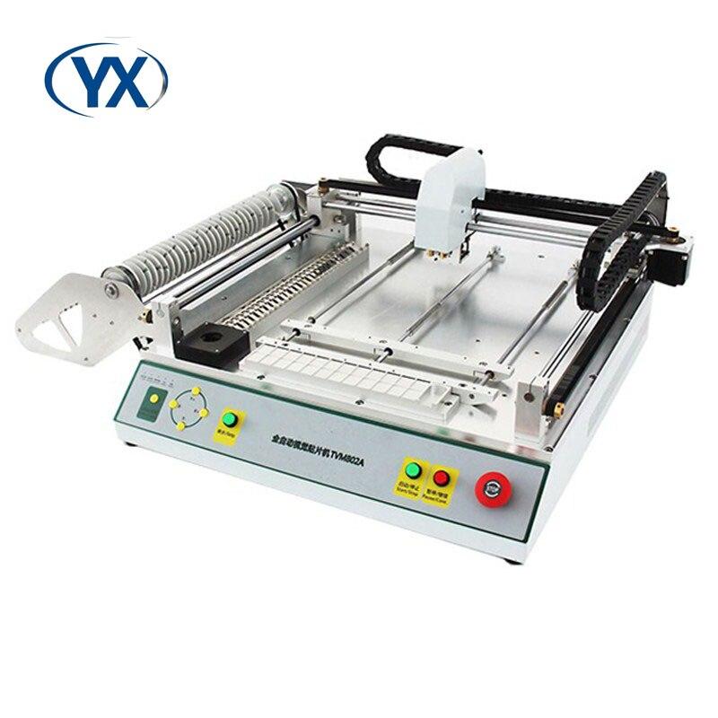 Fabricante suministro de escritorio SMT Pick and Place Machine TVM802A para línea de montaje automática con sistema de visión y 29 alimentadores