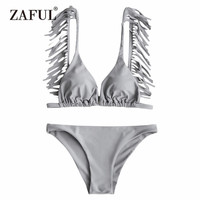 ZAFUL Tassels Bikini Set Plunging Neck Tassels Women Swimsuit Padded Swimwear Solid Buqini Sexy V Neck Swimming Suit Beachwear