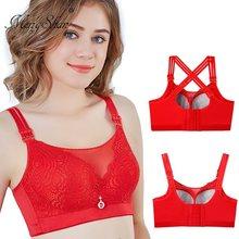 Grand soutien-gorge rouge pour femmes, sous-vêtements à gros dos, grande taille, grande taille, sans support en acier, MM300