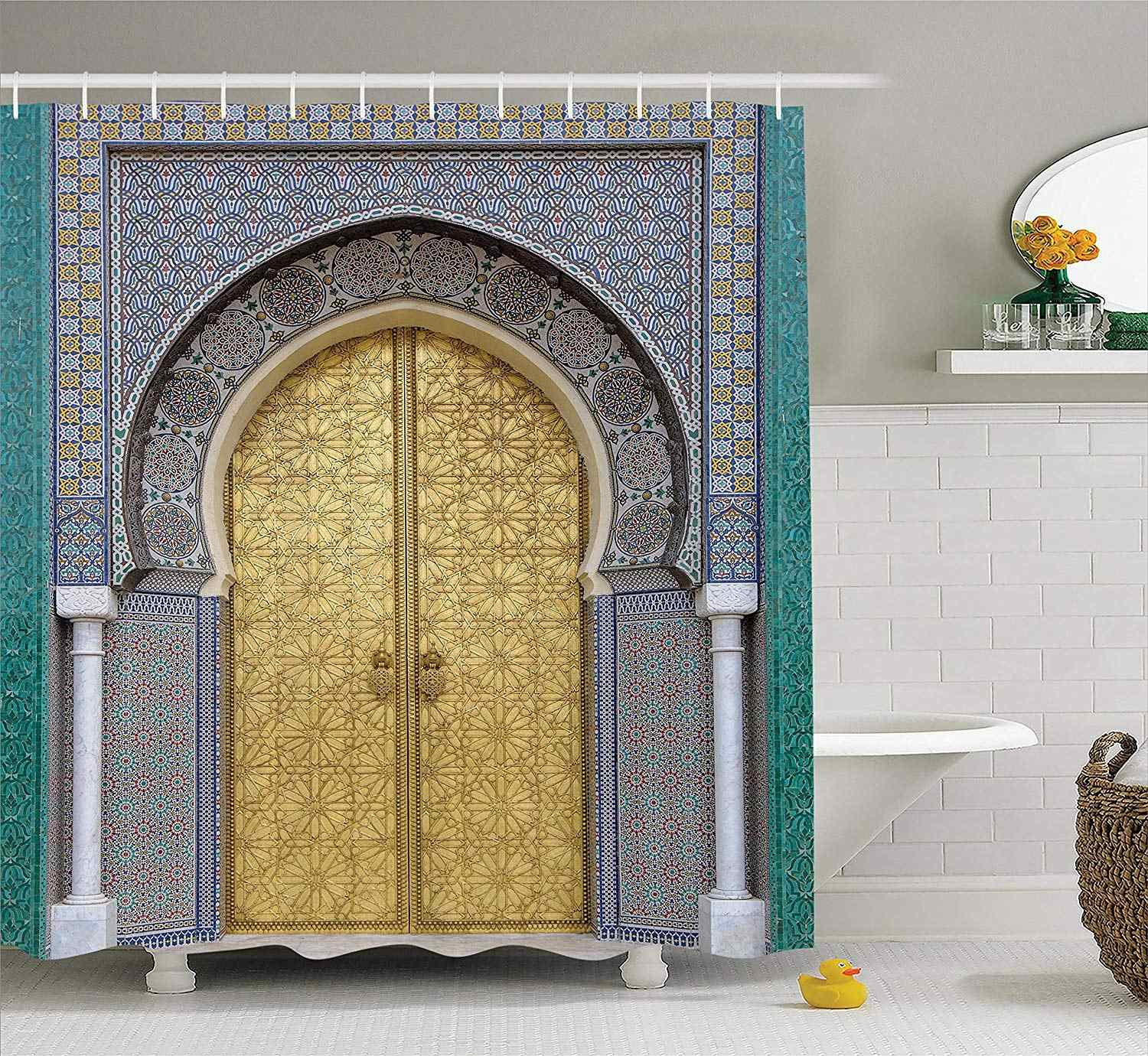 Moroccan Shower Curtain Set Antique Doors Morocco Gold Doorknob Ornamental Carved Intricate Artistic Bathroom