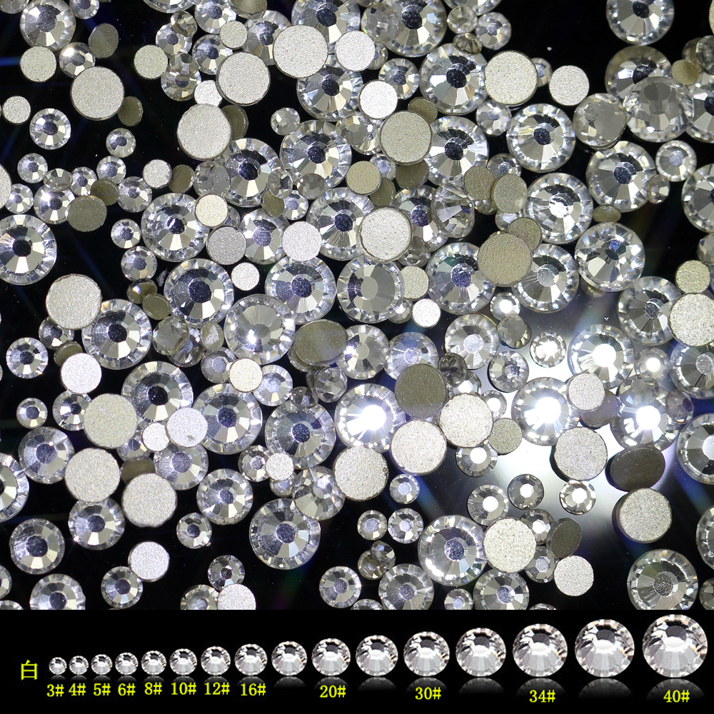 Super Shiny SS3-ss40 Clear Crystal AB 3D Non HotFix FlatBack Nail Art Decorations Flatback Rhinestones Gold Foiled Stones super shiny 1440pcs ss8 2 3 2 4mm clear ab glitter non hotfix crystal ab color 3d nail art decorations flatback rhinestones 8ss