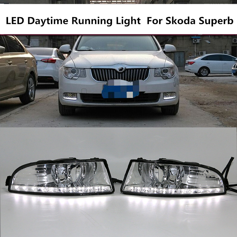 Super bright 12V LED Car DRL Daytime Running Light For SKODA OCTAVIA A5 2010 2011 2012 2013 With Fog Lamp Hole Waterproof Style