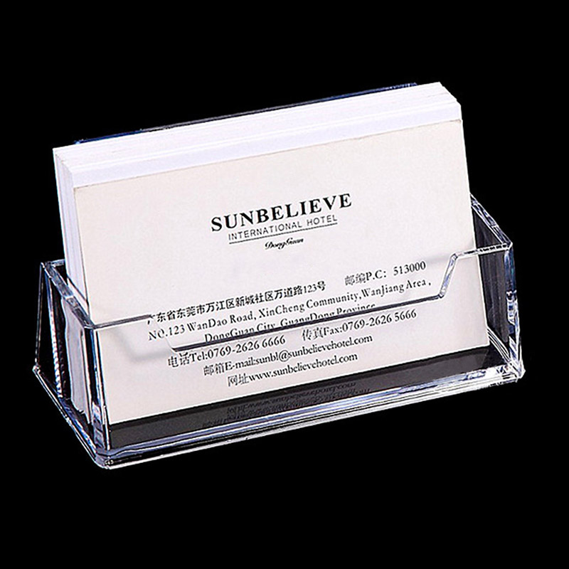 1 Pcs Clear Desk Shelf Box Storage Display Stand Acrylic Plastic Transparent Desktop Business Card Holder 10 *5*5.7cm
