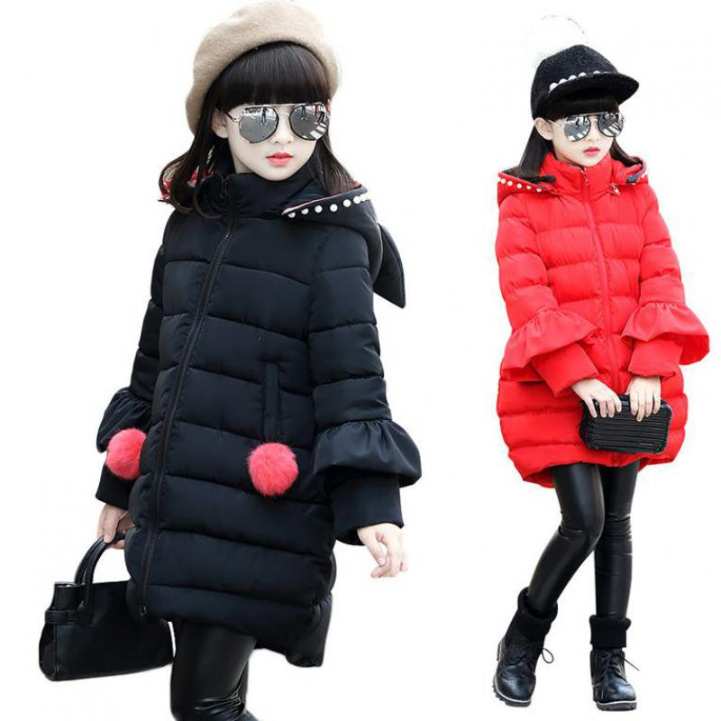 2017 Russia Winter Girls Down Jackets Snowsuit Long Thick Children Outerwear Bow Hooded Coats Warm Parkas Kids Overcoat 12 13 14 duck down jacket for boys 2017 russia winter warm thick down parkas children casual fur hooded jackets coats 30 degrees
