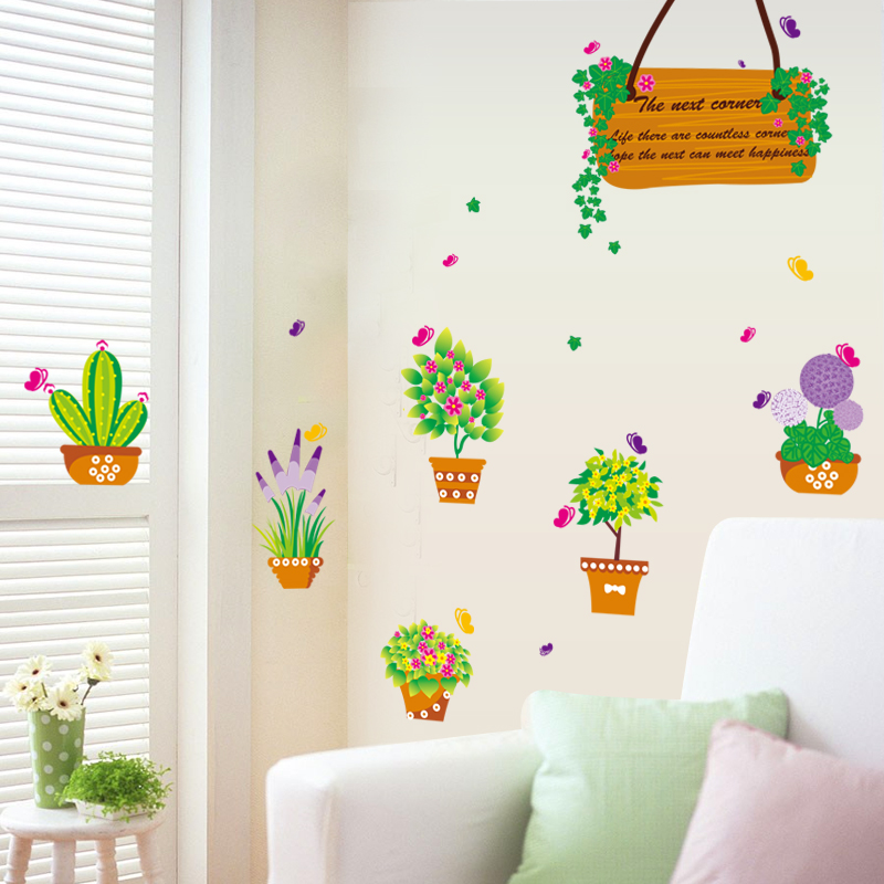Colourful flower pots garden plant window sticker removable glass film sticker lovely plant adhesive film for bathroom bedroom in wall stickers from home
