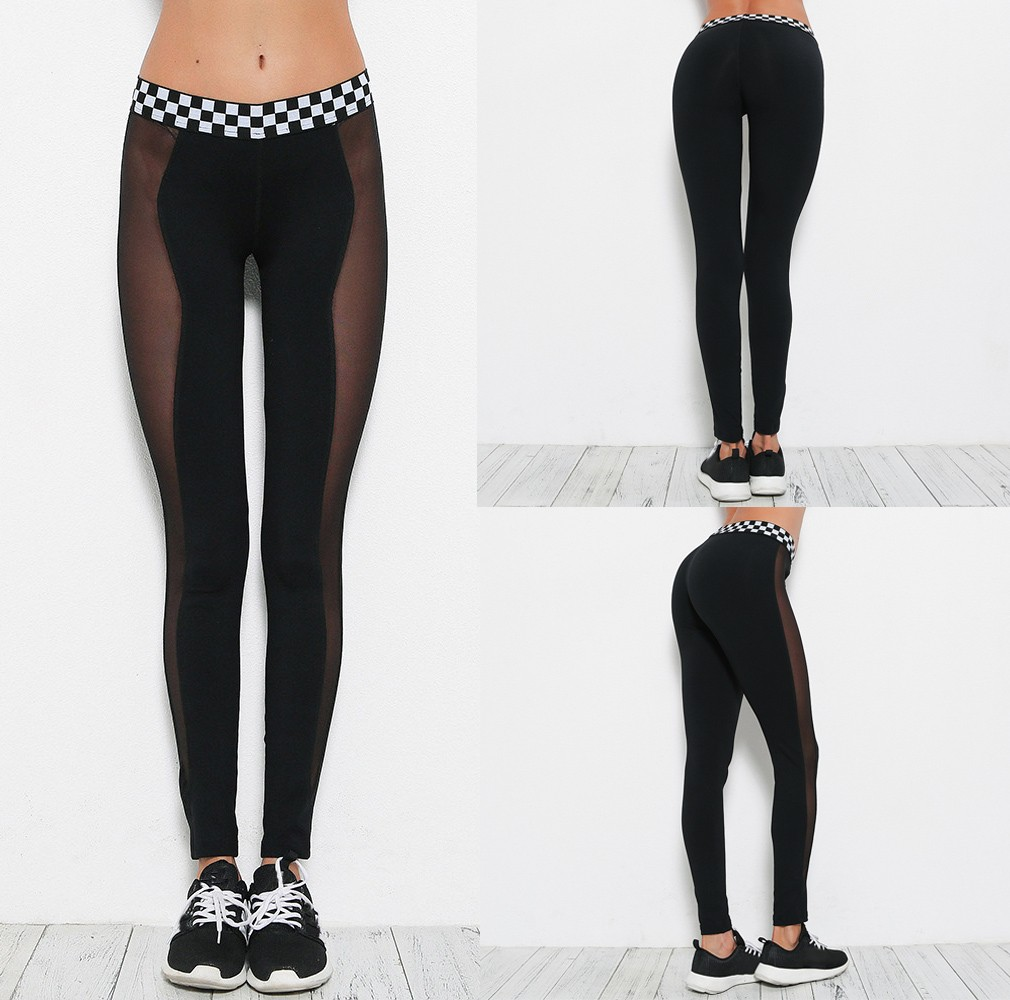 Women Plaid Hit Color Mesh Splice flexible track sports trousers Gym Workout Running Sexy tights Pants Fitness Elastic Leggings