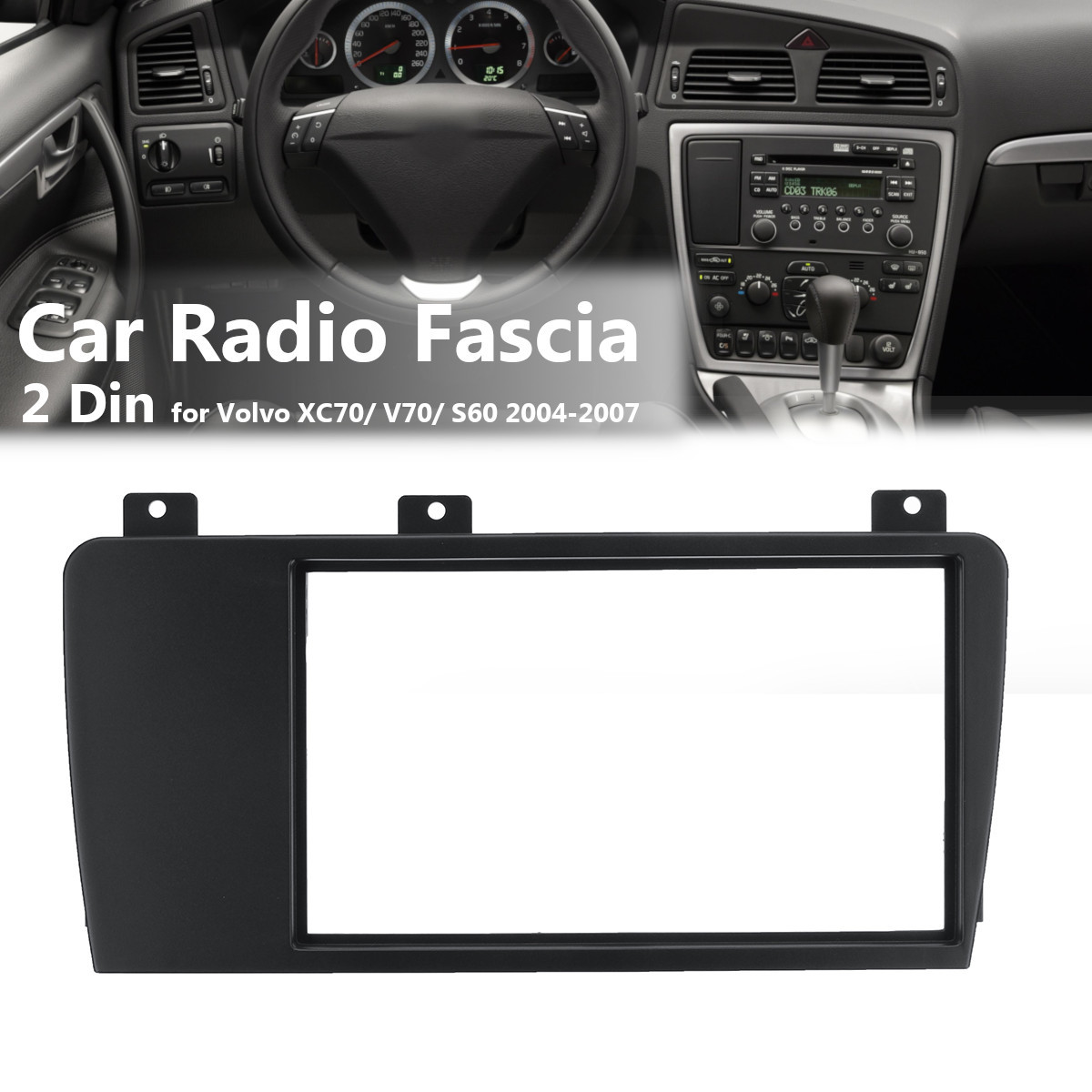 2 Din Car Stereo Radio Fascia Panel Plate Trim Frame CD Dashboard Panel Audio Frame for Volvo XC70/ V70/ S60 2004-2007 image