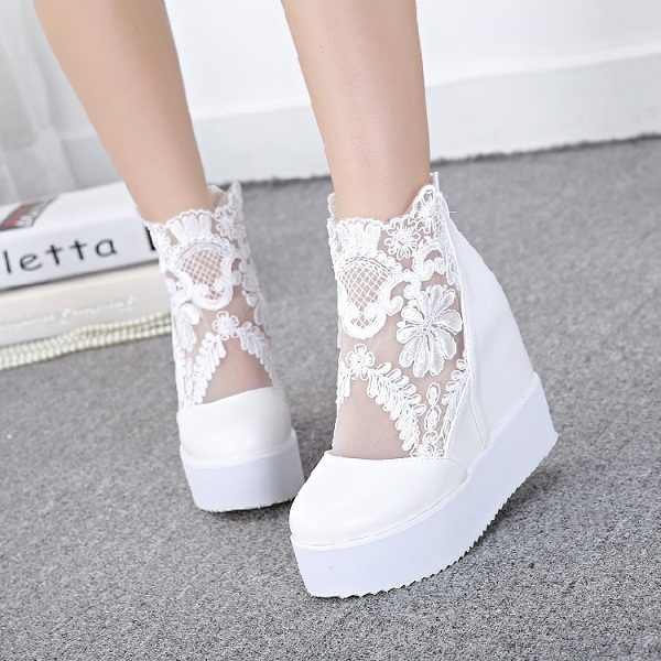 Fashion Sweet Lace Shoes Women Wedge Heels Platform Pumps High Heels Sandals zapatos plataforma mujer encaje 3 COLORS