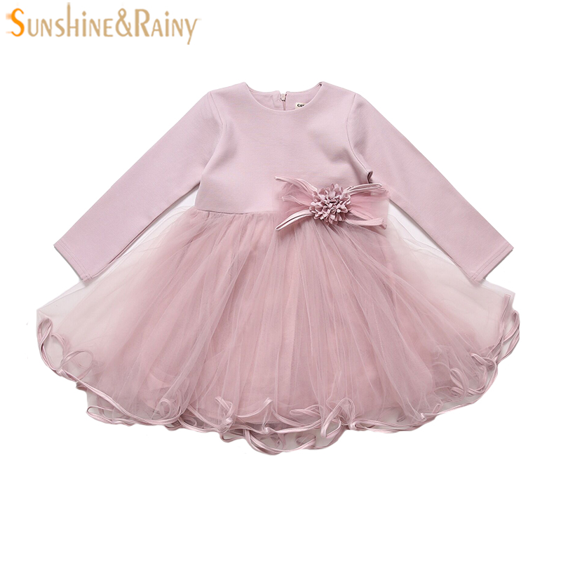 2017 Fashion Long Sleeve Girls Dresses Pleated Bow Brand Baby Girl Dress Kids Costume Children Princess Dress For Party 3-8Yrs fashion 2016 new autumn girls dress cartoon kids dresses long sleeve princess girl clothes for 2 7y children party striped dress