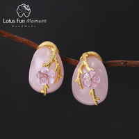 Lotus Fun Moment Real 925 Sterling Silver Natural Rosy Crystal Handmade Fashion Jewelry Plum Flower Stud Earrings for Women
