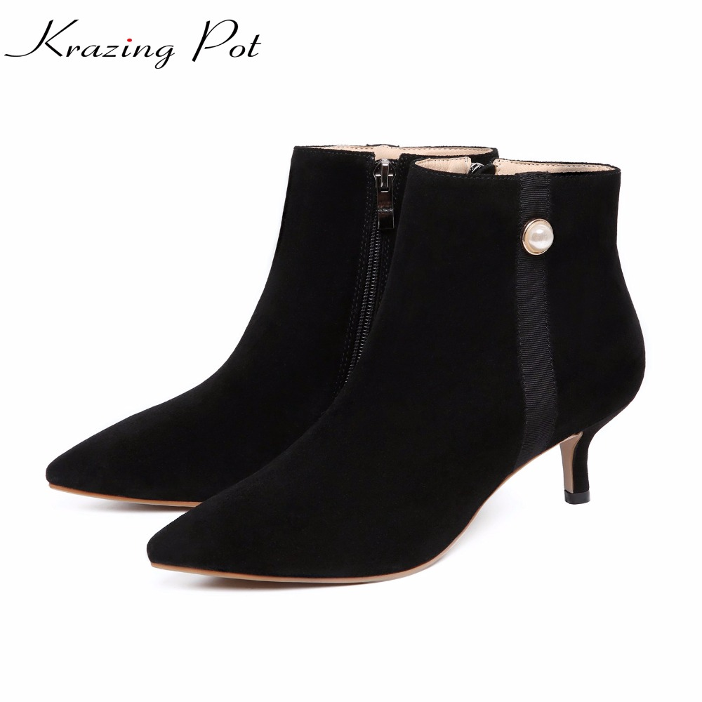 Krazing Pot 2018 cow suede fashion autumn winter pointed toe thin high heels stiletto women pearl lady ankle Chelsea boots L10 krazing pot cow suede real leather autumn winter pointed toe buckle thick high heels women office lady tassel ankle boots l05