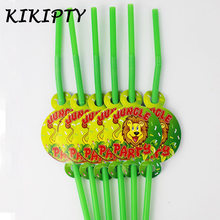 Jungle Lion king theme Party Disposable straw plastic straw baby shower birthday party decoration kid boy favor tableware supply(China)