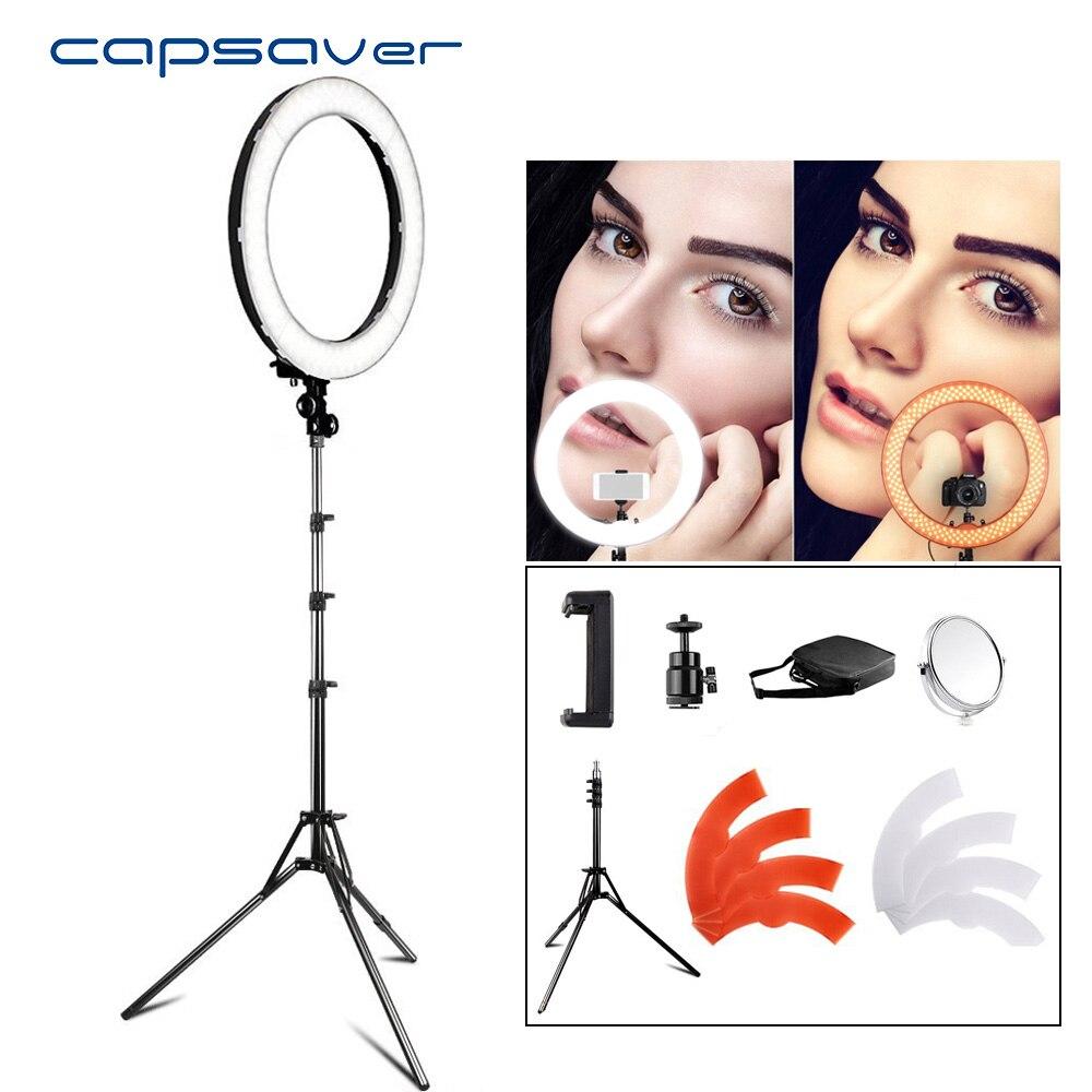 Capsaver RL-18 LED Ring Light 18 polegada Maquiagem Espelho Da Lâmpada com Tripé de Alta CRI LEVOU 5500 k Câmera Fotográfica Youtuber estúdio de Vídeo Lâmpada