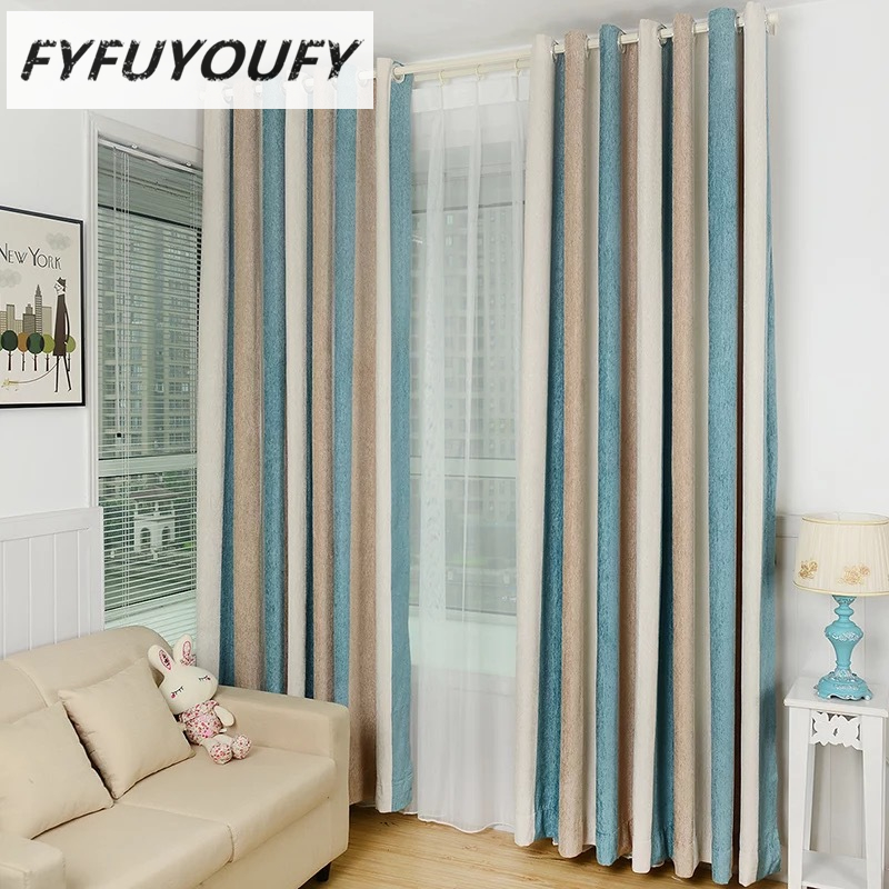 Cotton Chenille Striped Modern Luxury Window Curtains For