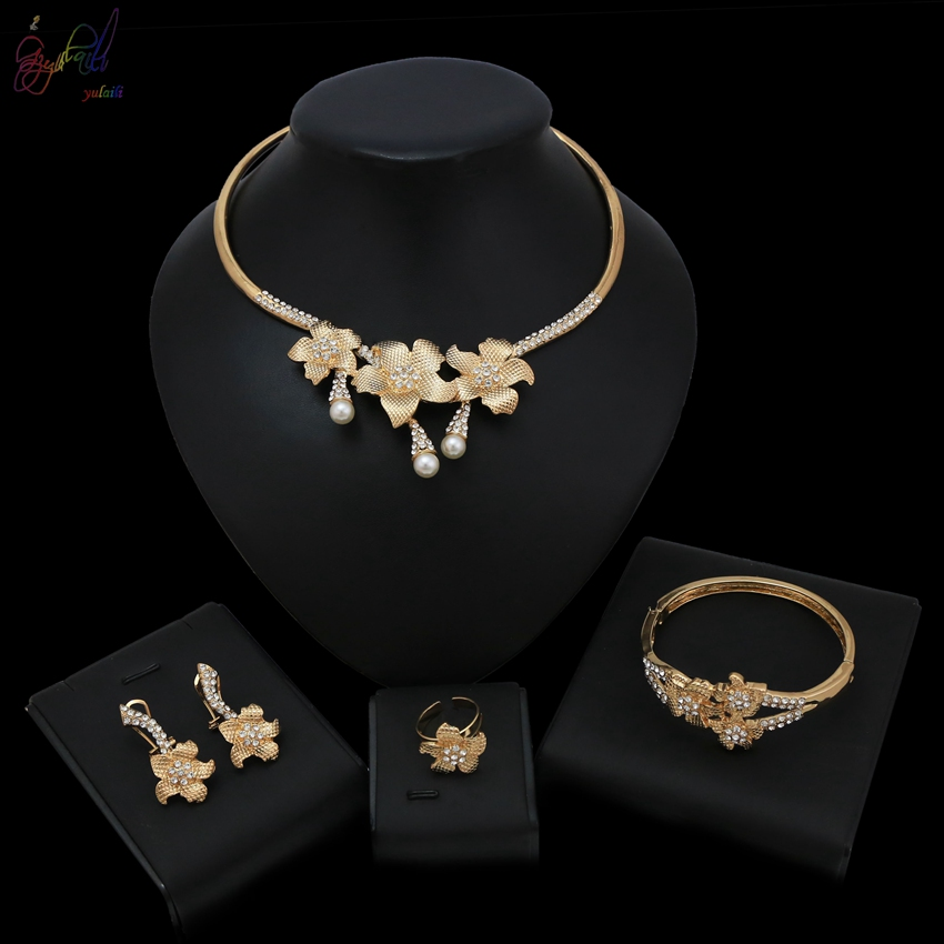 6fbc3b7439 Detail Feedback Questions about Yulaili 2019 Must have Design Luxury Flower  Dubai Gold Color Necklace Bracelet Earrings Ring Jewelry Set For Women  Wedding ...