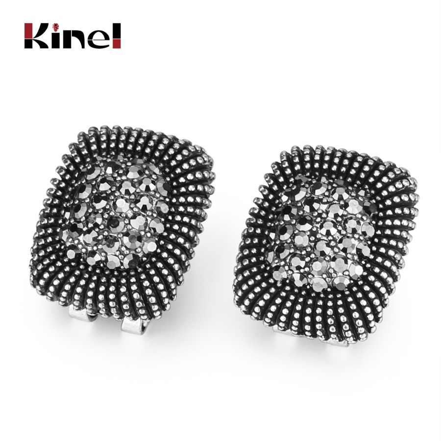 Kinel Fashion Gray Crystal Earrings For Women Antique Silver Color Punk Rock Christmas Gifts Jewelry Wholesale 2017 New