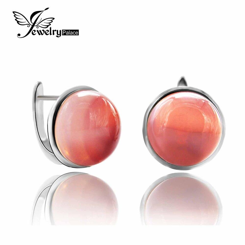 Romantique 17ct Unique marque nouveau élégant luxe véritable Rose Quartz Clip boucles d'oreilles solide 925 en argent Sterling bijoux de pierres précieuses fines
