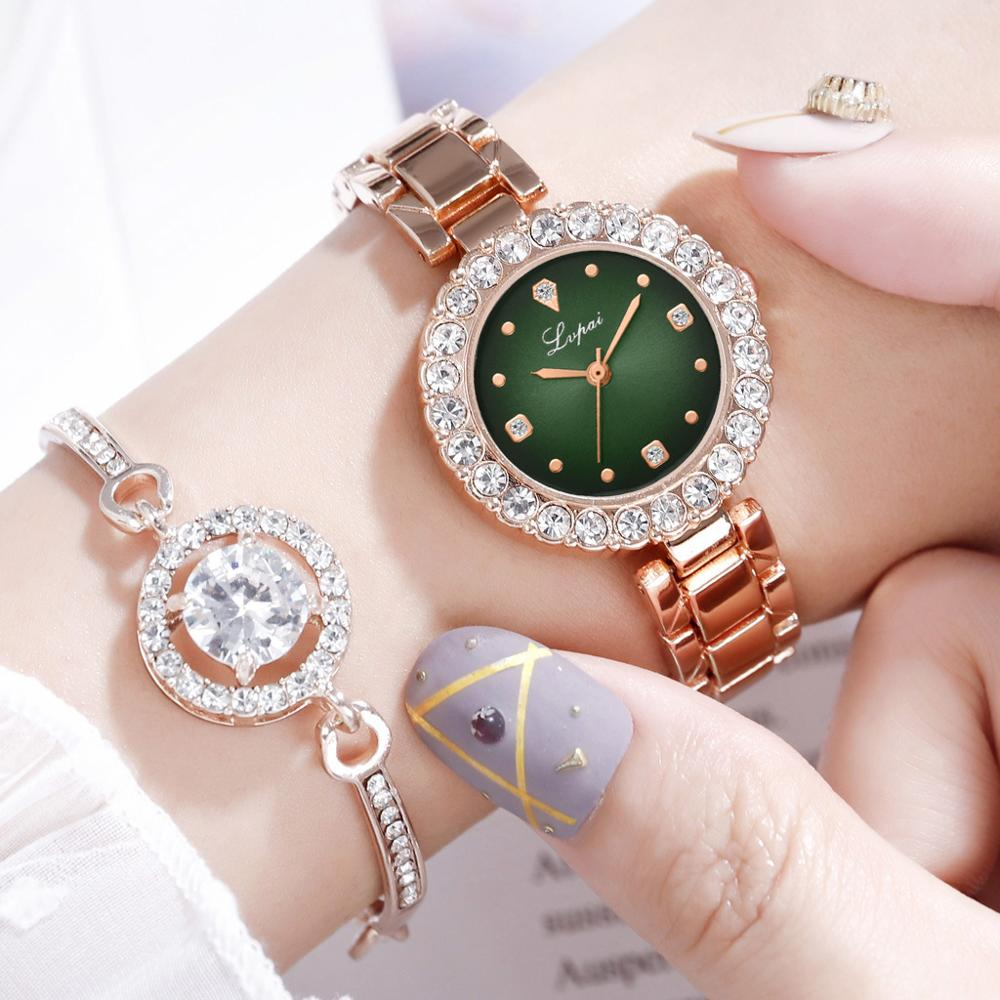 Luxury Diamond Green Watch Women Crystal Watches Bracelet Set Female Jewelry Fashion Rose Gold Starry Quartz Watch For Lady Gift