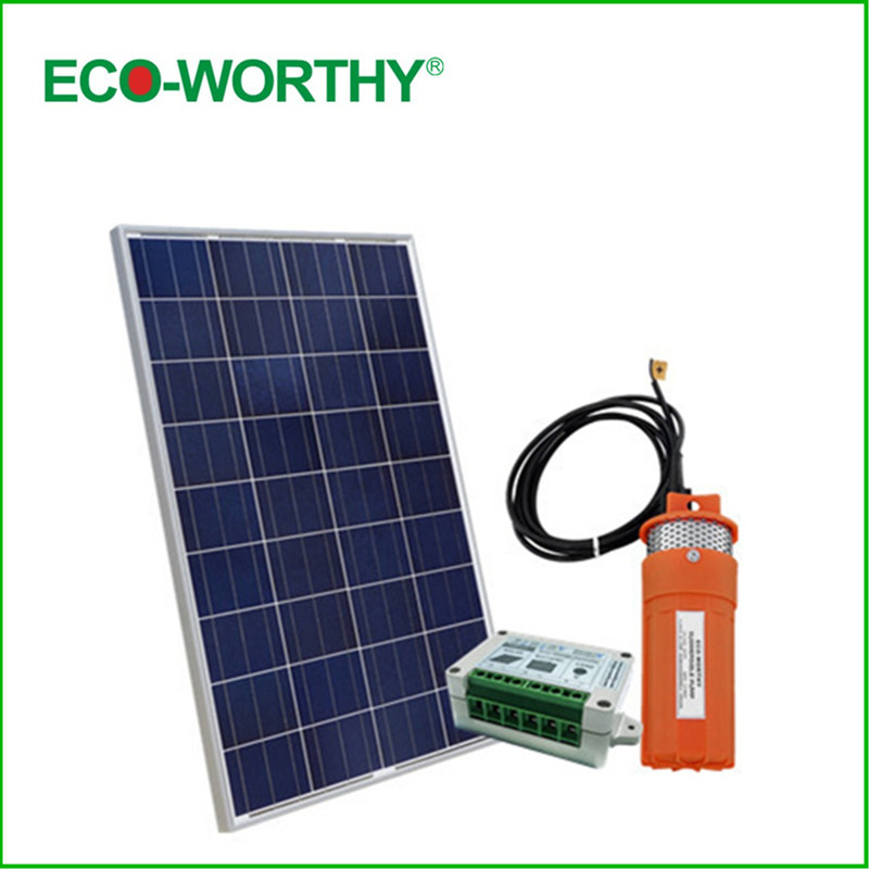 100W 18V Solar Panel with 12V Deep Well Subersible Pump for Wishing Farm Ranch