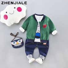 2018 Kids Suits cartoon monster Suits Boys Girls sets Jacket+Letter print Long Sleeve+Pants child clothes Sports Leisure A26