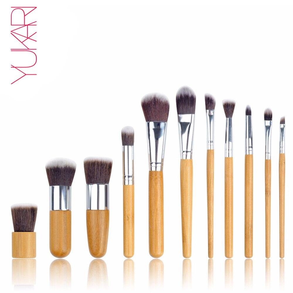 цена на YUKARI BAMBOO handle Makeup Brush Set kwasten Make Up Beauty Blush Foundation pro Powder eye Brush high quality brushes with bag