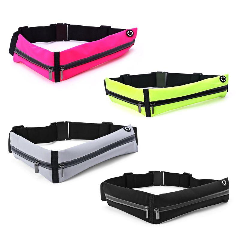 Unisex Double Zipper Sport Pack Phone Pouch Waist Bum Bag Fitness Running Jogging Belt