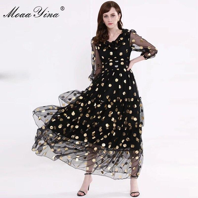 Image 2 - MoaaYina Fashion Designer Runway dress Spring Summer Women Dress V  neck Dot Mesh Black Elegant Party Ruffles DressesDresses   -
