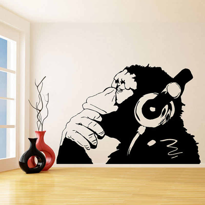 Banksy Vinyl Wall Decal Monkey With Headphones / One Color Chimp Listening to Music in Earphones / Street Graffiti Sticker