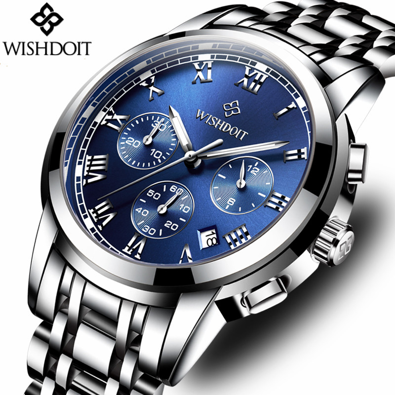 Relogio Masculino WISHDOIT Mens Watches Top Brand Luxury Fashion Business Quartz Watch Men Sport Steel Waterproof Wristwatch wishdoit watch men top brand luxury watches simple business style fashion quartz wrist watch mens stainless steel watch relogio