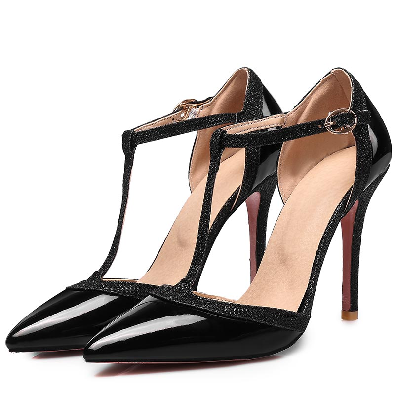 c6f70d845914 SGESVIER Women Shoes Thin High Heels Pumps Nude Red Shoes Sexy Pointed Toe  T-strap Wedding Party Dress Shoes Size 31-47 OX187