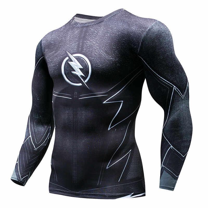 Спортивная футболка с длинными рукавами для мужчин, супер герой Каратель, 3D компрессионная футболка, быстросохнущая Мужская футболка для бега, тренажерный зал, фитнес-топ Ras