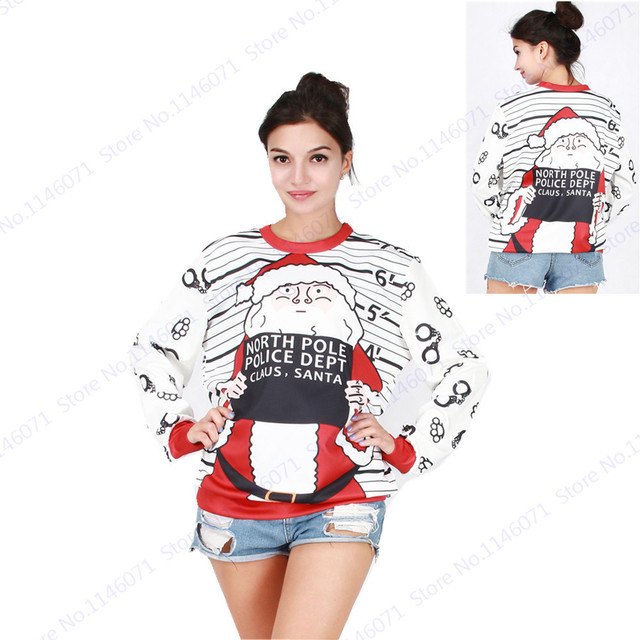 North Pole Police Dept Santa Claus Sweaters Loose Sweatshirts Women  Christmas Tracksuit Winter White Training Exercise Sweaters 980804828