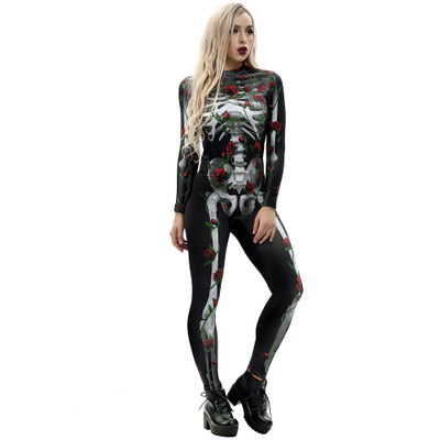 New Women Halloween Day Print Long Sleeve Stretch Leotard Skinny Jumpsuits for Women Sexy Club Wear Bodysuit Overalls