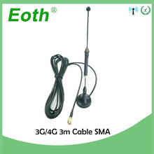 10pcs/lot 4G 10dbi LTE Antenna 3g 4g lte Aerial 698-960/1700-2700Mhz with magnetic base SMA Male RG174 3M Cable Sucker Antenna