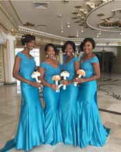 2016 Blue Lace Bridesmaid Dresses V Neck Mermaid Satin Floor-Length De Casamento Robe Demoiselle D'honneur Bridesmaid Dress