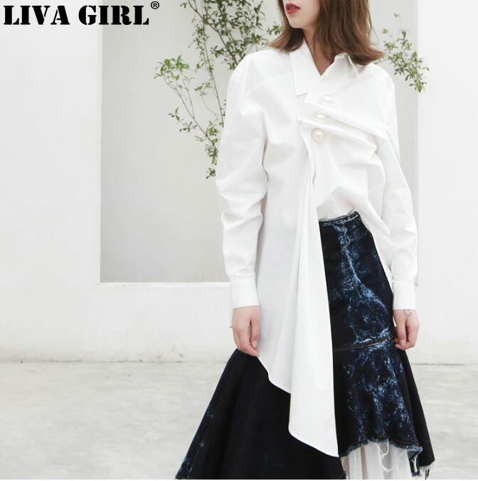 LIVA fille perles chemise femme revers col froncé Patchwork irrégulière blanc Long Blouse printemps mode OL vêtements