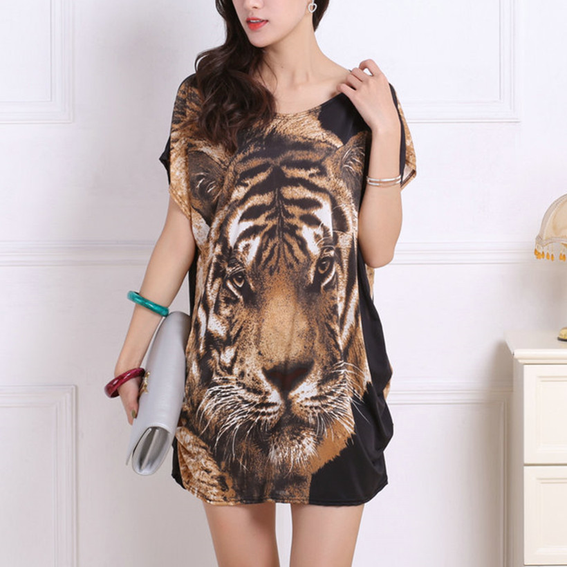 Nieuwe zomer lente 2019 Mode Vrouwen korte mouw Jurken Plus Size tuniek Losse Print casual tops L-5XL tijger hoofd leopar