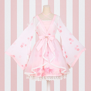 Image 5 - lolita Chinese style goldfish girl fake two pieces Dress printing ONE PIECE Dress Sakura blossom celebration