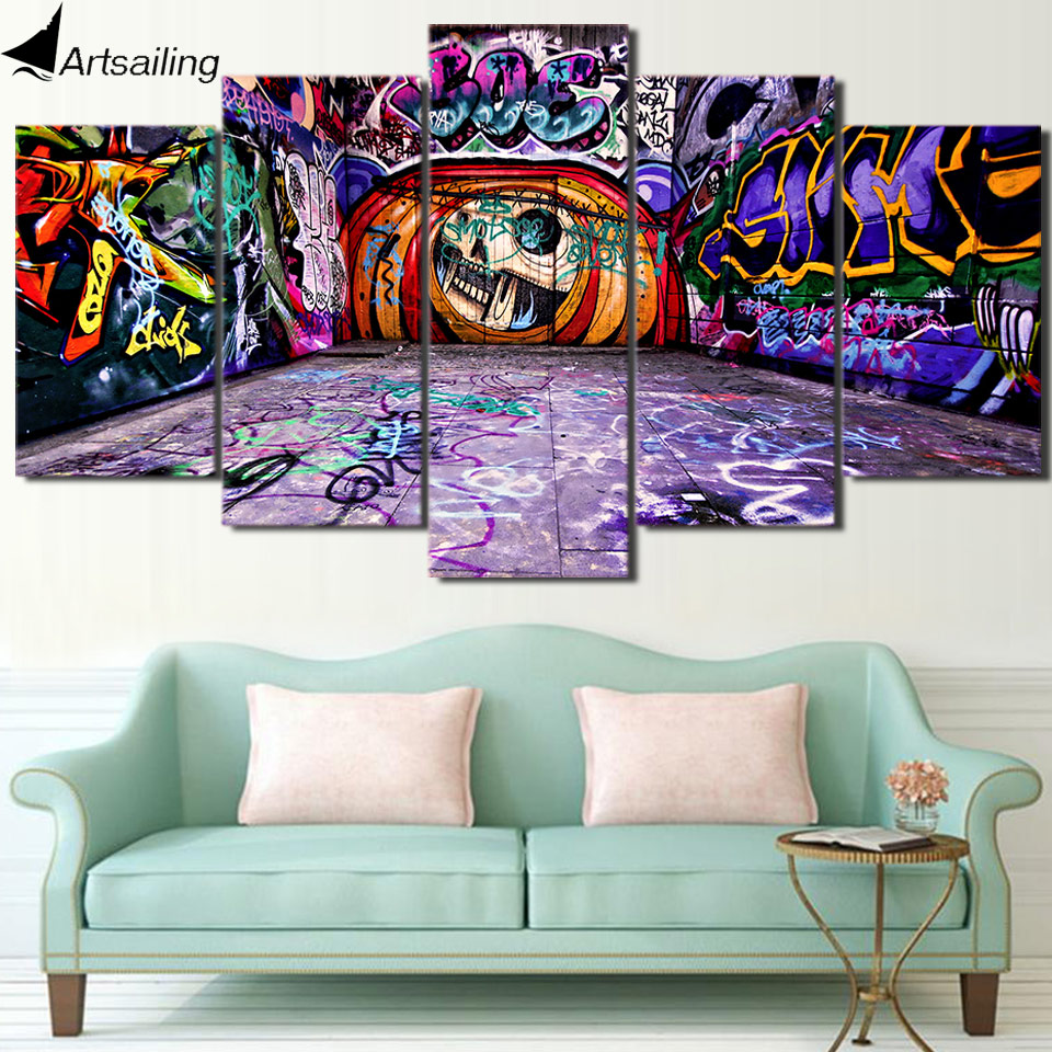Hd printed graffiti art 5 piece canvas painting wall art for 5 piece mural