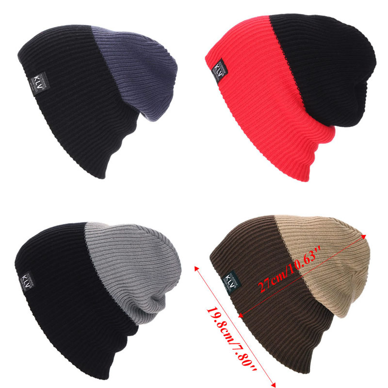 Fashion Unisex Womens Mens Knit Baggy Beanie Hat Winter Warm Red grey Oversized Ski Cap