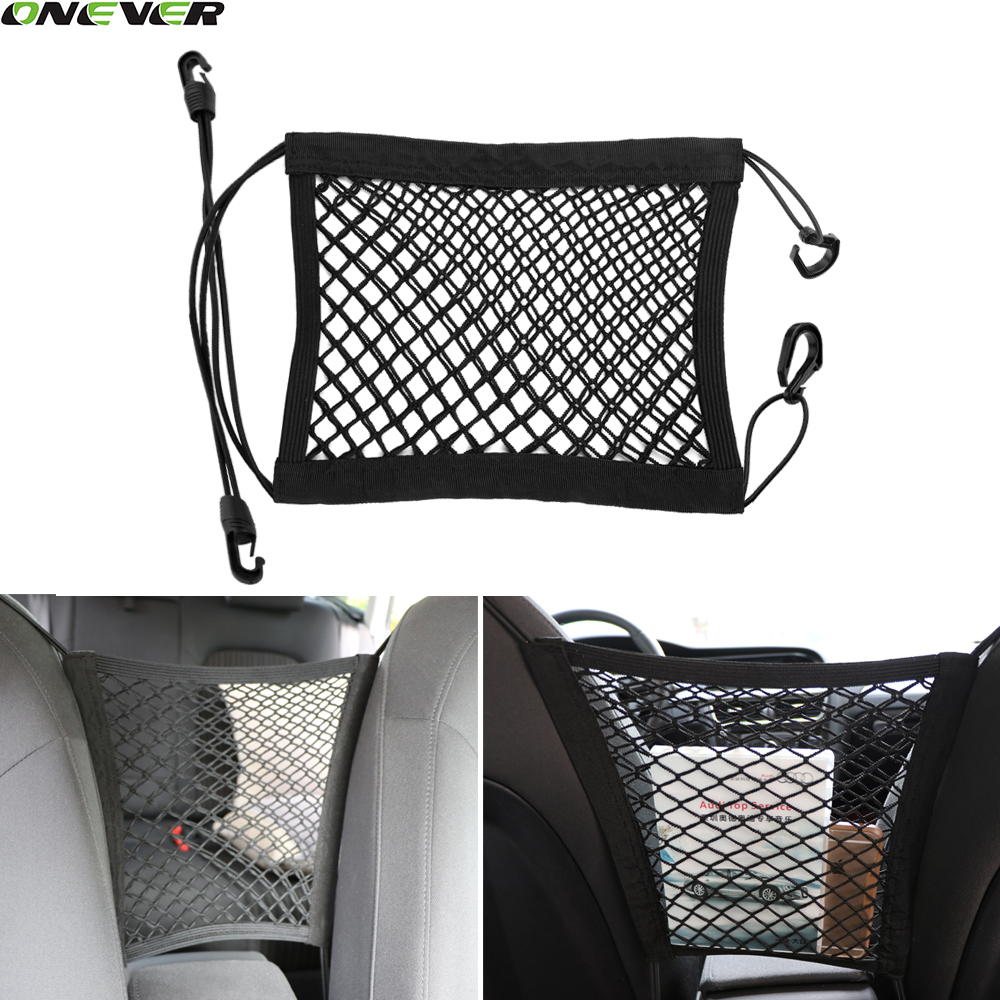 24x25cm universal elastic mesh net trunk bag between car organizer seat back storage mesh net. Black Bedroom Furniture Sets. Home Design Ideas