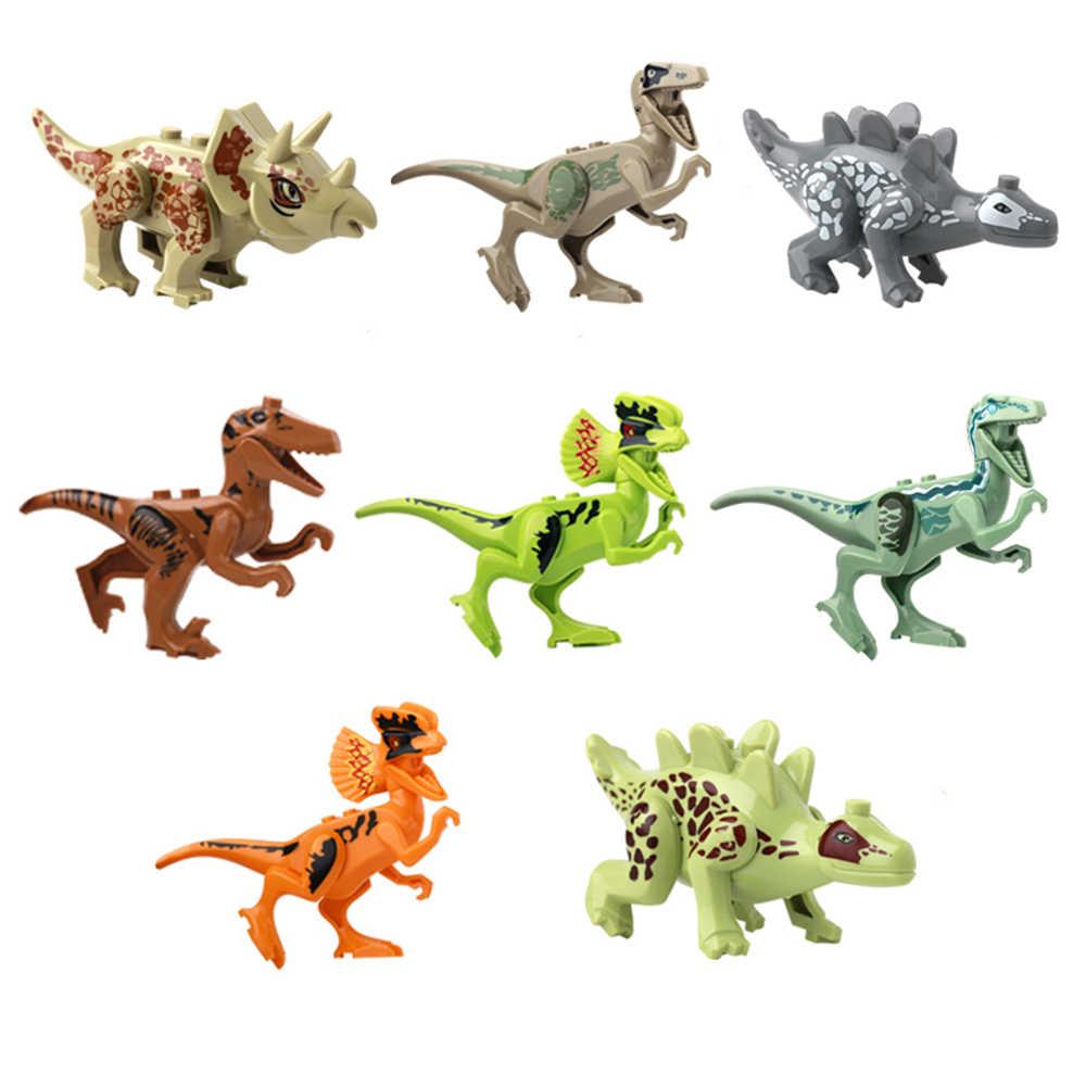 ジュラ紀の恐竜世界公園ブロック恐竜 raptor 保護ゾーンビルディングブロックセット子供たちのおもちゃ juguetes ティラノサウルスレンガ