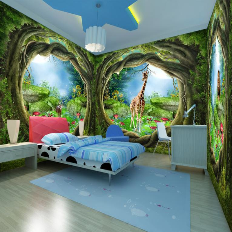 Custom 3d photo wallpaper forest tree animals nature home for Child mural wallpaper