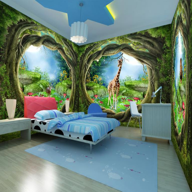 Custom 3d Photo Wallpaper Forest Tree Animals Nature Home