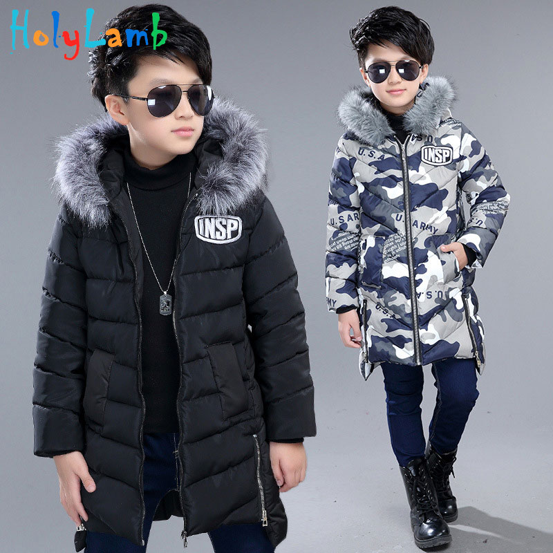 Teenage Boys Winter Jackets Letter Fur Hooded Parka Kids Cotton Thicken Camouflage Coats for Boys Outerwear Boy Jacket  Jumpsuit
